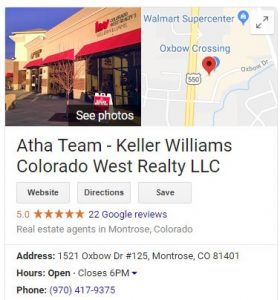 Google Business for Atha Team at Keller Williams Colorado West Realty