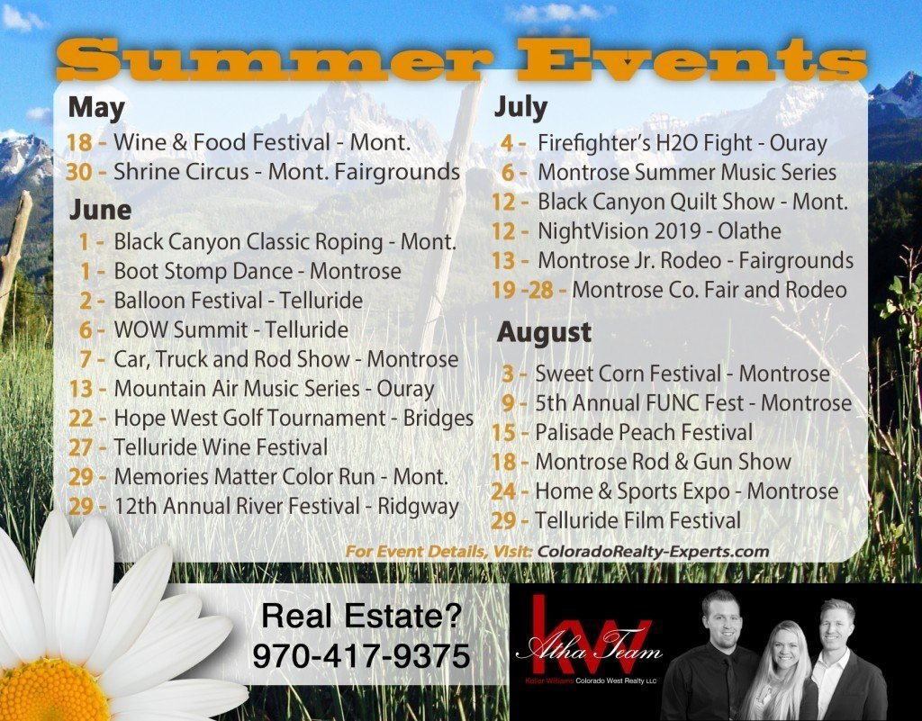 Montrose Colorado, Western Slope Summer Events 2019 - Atha Team Real Estate