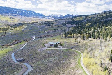 Aerial View of Cabin Property South Facing - 684 Falcon Way Cimarron, CO 81220 - Atha Team Real Estate