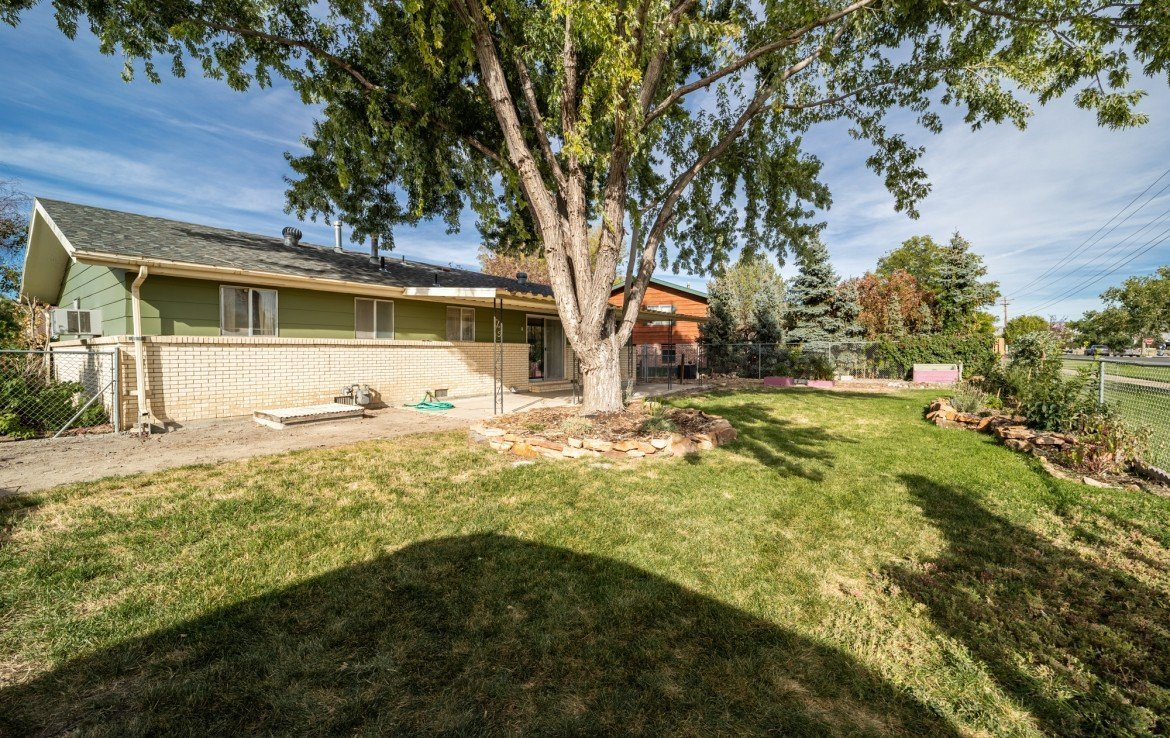 Large landscaped back yard - 1717 Dover Rd Montrose, CO 81401 - Atha Team Real Estate for Sale