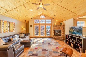 Living Room with Vaulted Tongue and Groove Ceiling - 181 S. Lena St #D Ridgway, CO 81432 - Atha Team Colorado Real Estate
