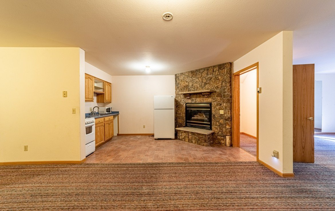Basement Studio Apartment Kitchen and Gas Fireplace - 430 Pinecrest Dr Ouray, CO 81427 - Atha Team Realty