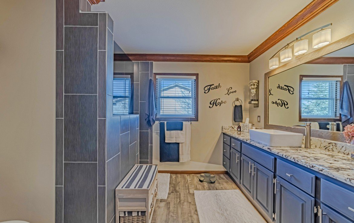 Master Bathroom with Crown Molding - 1649 Hermosa St Montrose, CO 81401 - Atha Team Real Estate
