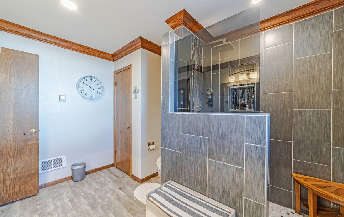 Master Bathroom with Tiled Shower - 1649 Hermosa St Montrose, CO 81401 - Atha Team Real Estate