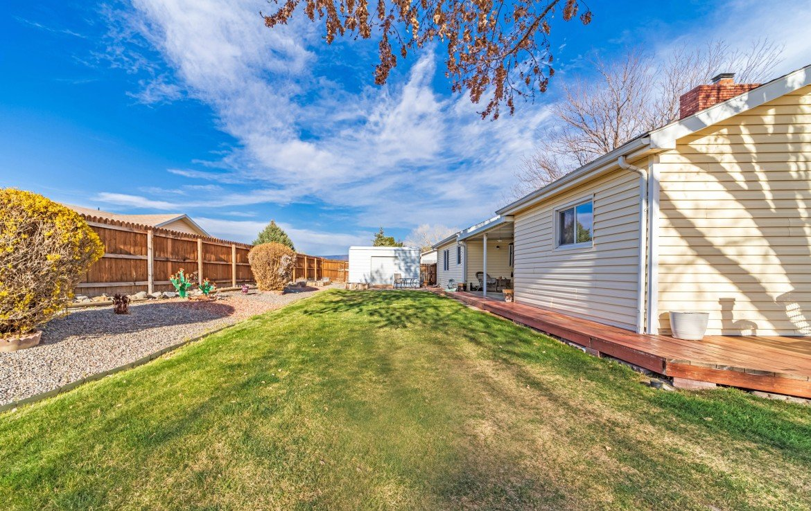 Back Yard with Metal Storage Shed - 1649 Hermosa St Montrose, CO 81401 - Atha Team Real Estate