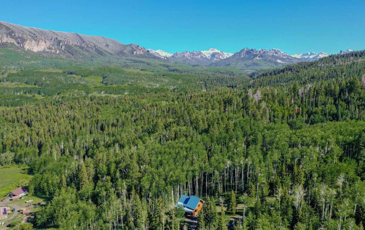 Aerial View of Cabin with Mountain Views - 84 Columbine Trail Cimarron Colorado 81220 - Atha Team Realty