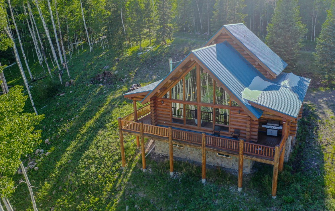 Aerial View of A-Frame Cabin - 84 Columbine Trail Cimarron Colorado 81220 - Atha Team Realty