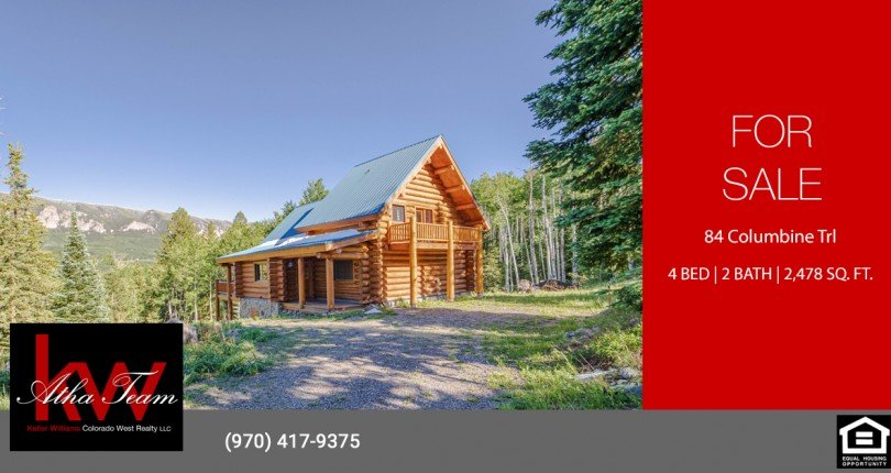 Cimarron Mountain Log Cabin for Sale - 84 Columbine Trl Cimarron - Atha Team Real Estate
