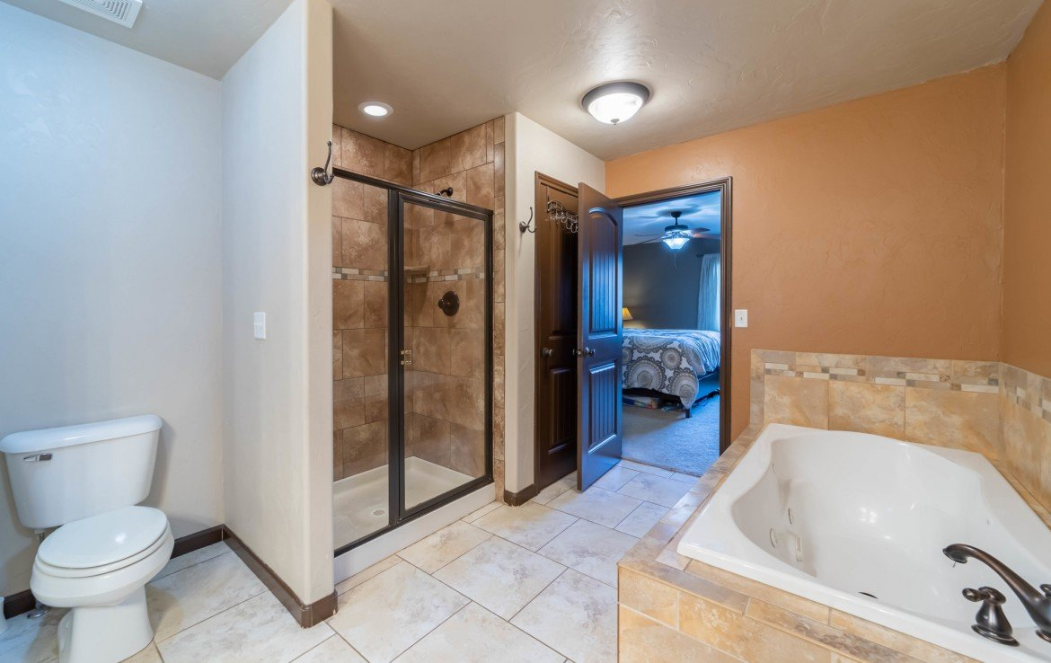 Master Bathroom with Tiled Shower - 1300 Gold Creek Montrose, CO 81403 - Atha Team Property for Sale