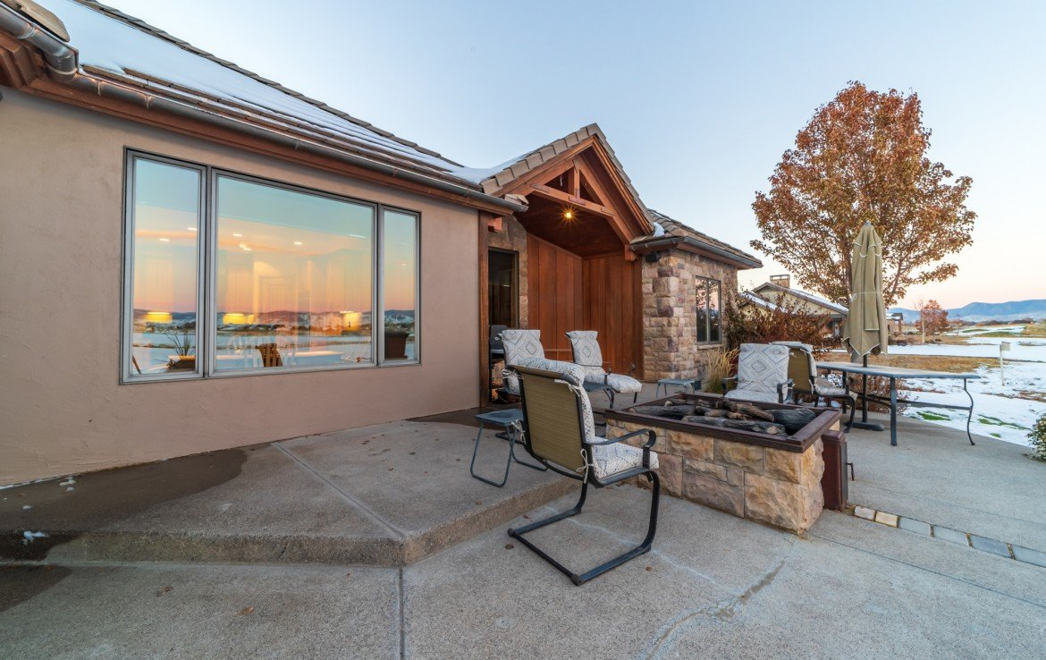 Back Patio with Gas Fireplace - 2839 Sleeping Bear Rd Montrose, CO 81401 - Atha Team Luxury Real Estate