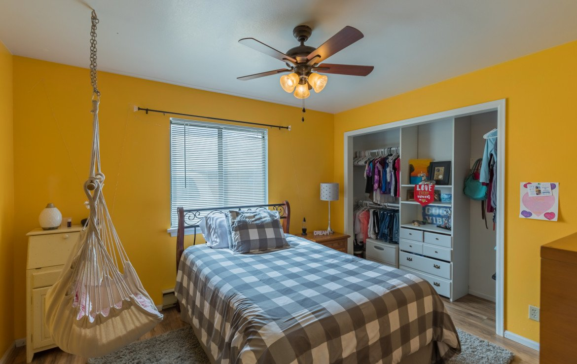 Bedroom with Ceiling Fan - 1639 6422 Rd Montrose, CO - Atha Team Real Estate Listing