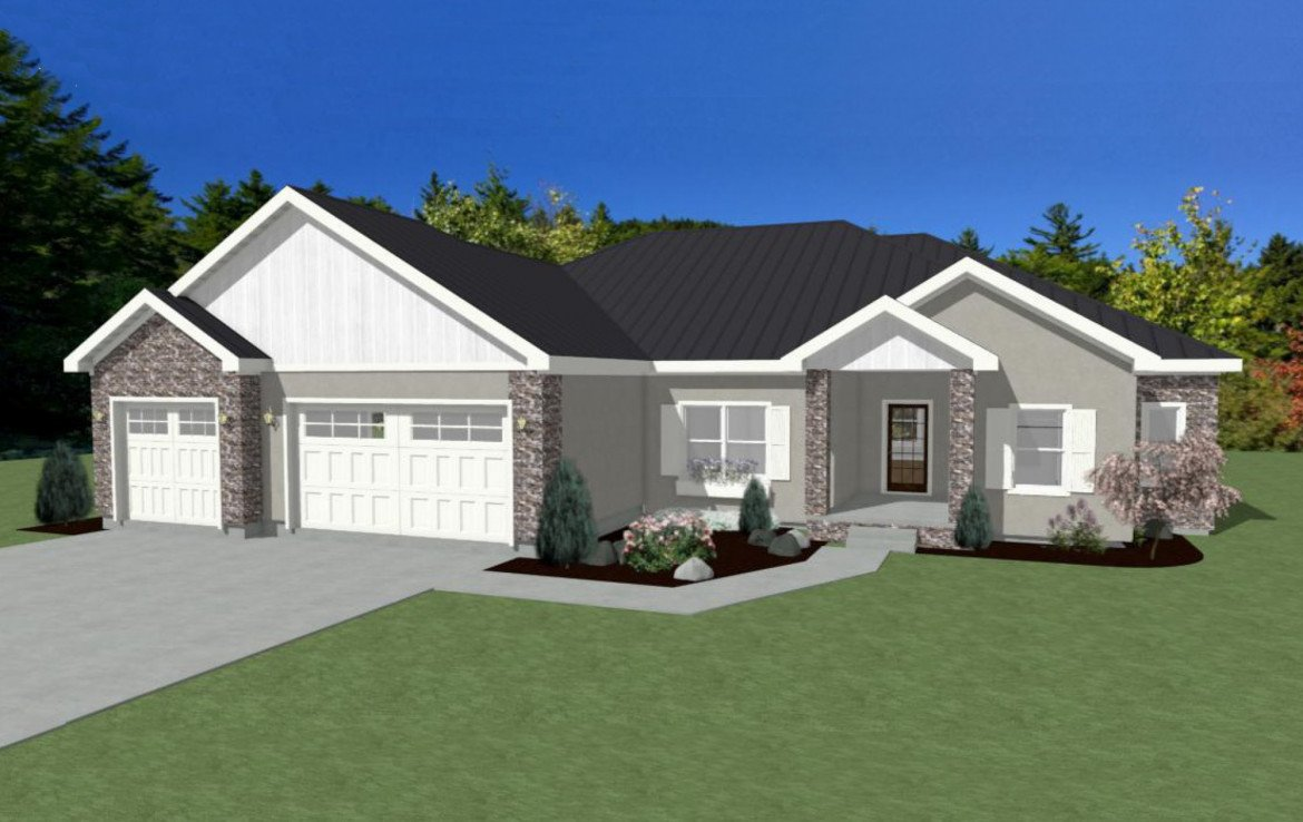 Front View 3D Rendering - Lot 1935 Sleeping Bear Rd Montrose, CO - Atha Team Real Estate
