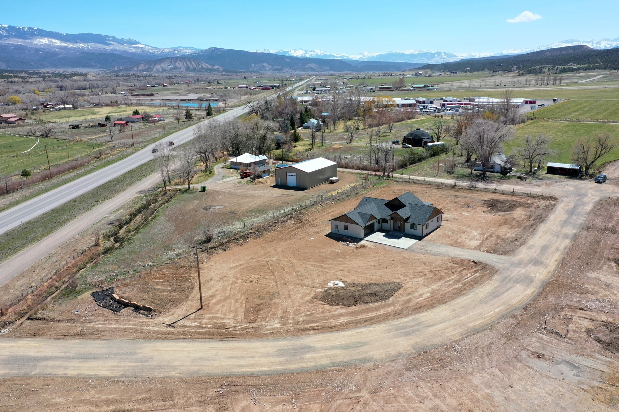 Front Aerial View South Facing - TBD Highway 550 Montrose, CO 81403 - Atha Team New Construction Real Estate