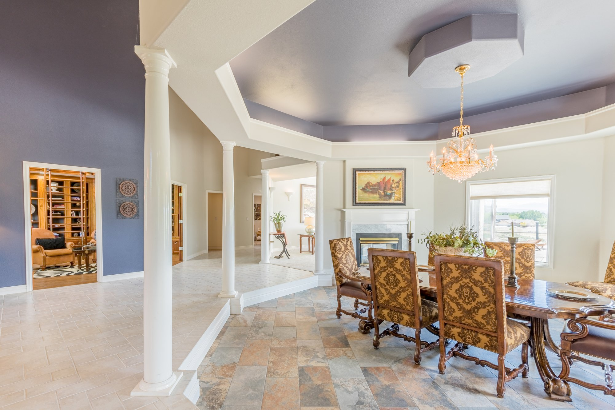 Dining Room with Trey Ceiling - 16955 Wildwood Dr. Montrose, CO 81403 - Atha Team Luxury Real Estate
