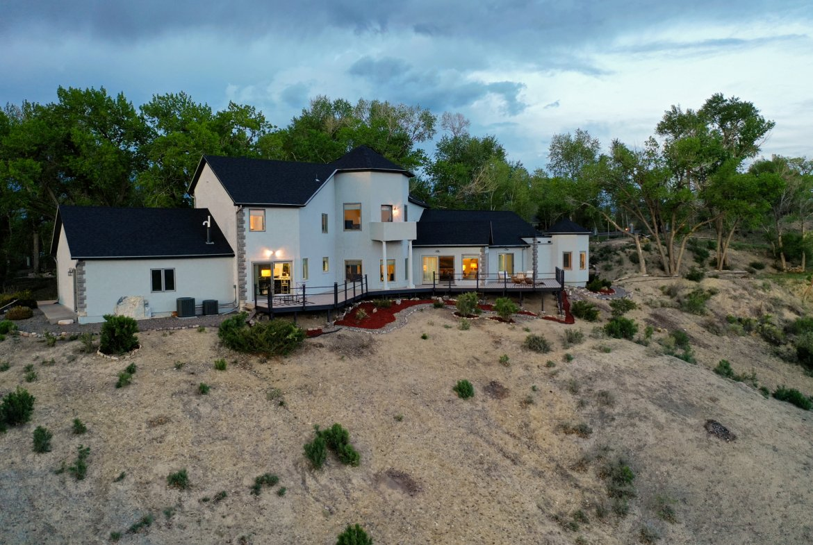 Aerial View of Home Facing East - 16955 Wildwood Dr. Montrose, CO 81403 - Atha Team Luxury Real Estate
