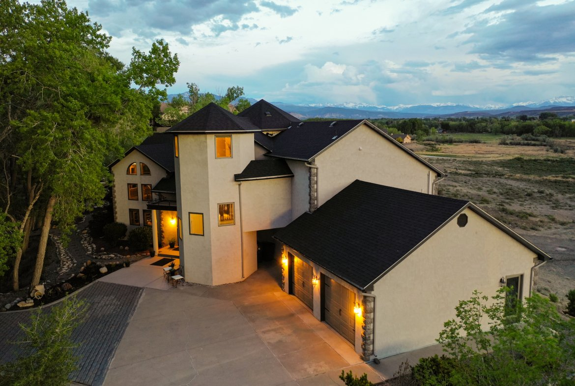 Aerial View of Home Facing South - 16955 Wildwood Dr. Montrose, CO 81403 - Atha Team Luxury Real Estate