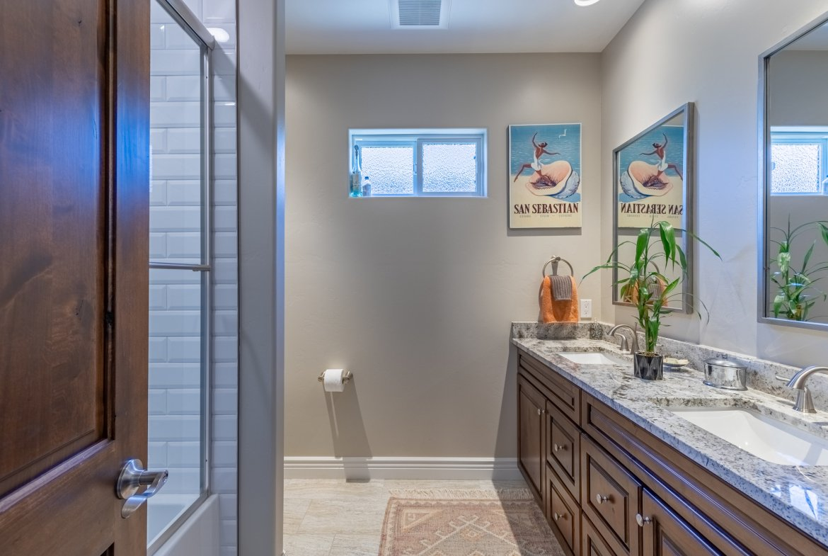 Guest Bathroom with Dual Sinks- 2927 Sleeping Bear Rd Montrose, CO 81401 - Atha Team Real Estate