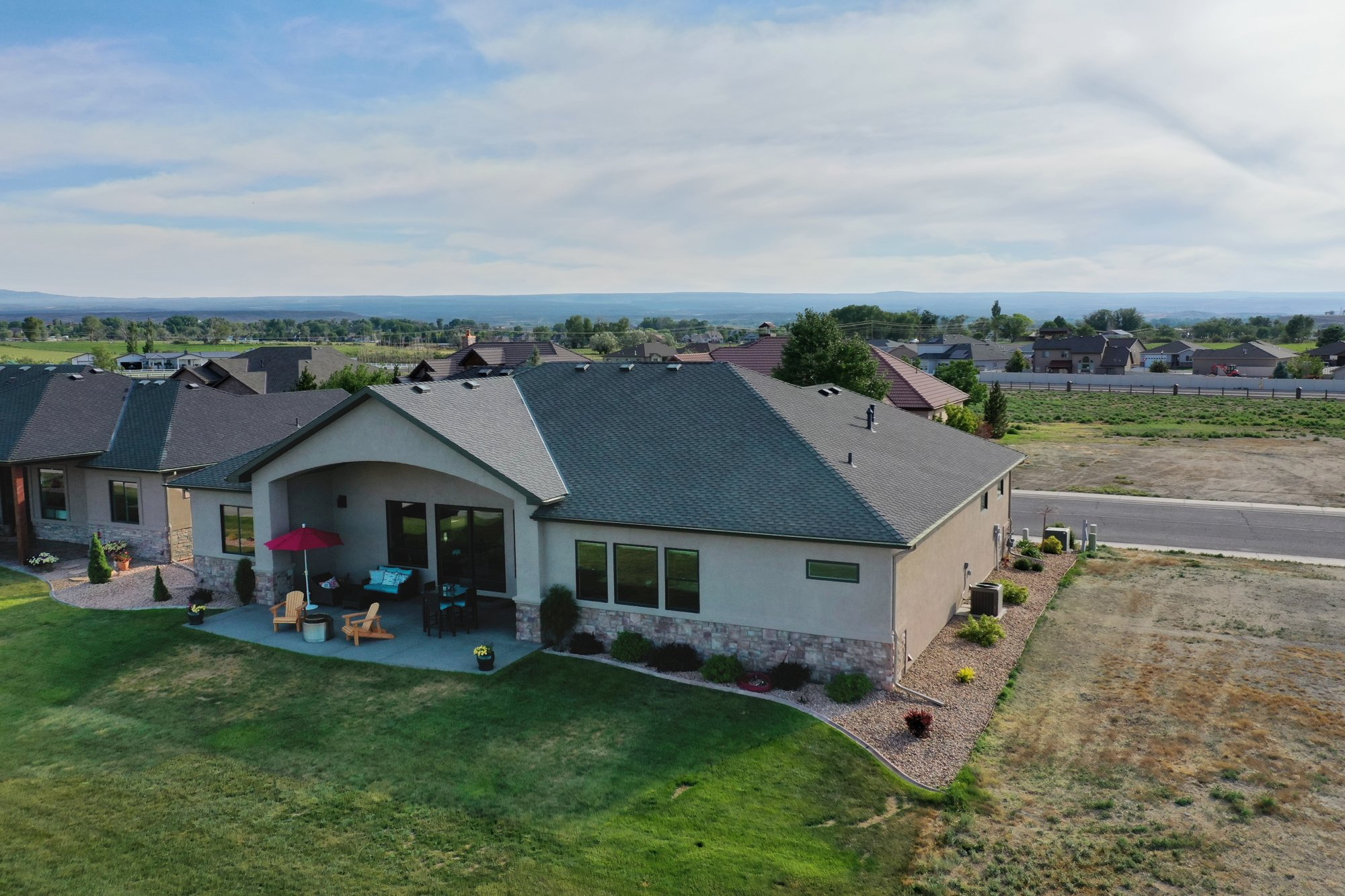 Aerial View Rear of Home and Landscaping - 2927 Sleeping Bear Rd Montrose, CO 81401 - Atha Team Real Estate