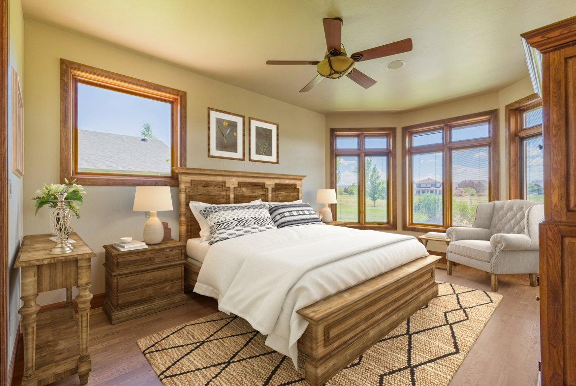 Master Bedroom with Ceiling Fan - 924 Courthouse Peak Lane Montrose, CO 81403 - Atha Team Golf Luxury Real Estate