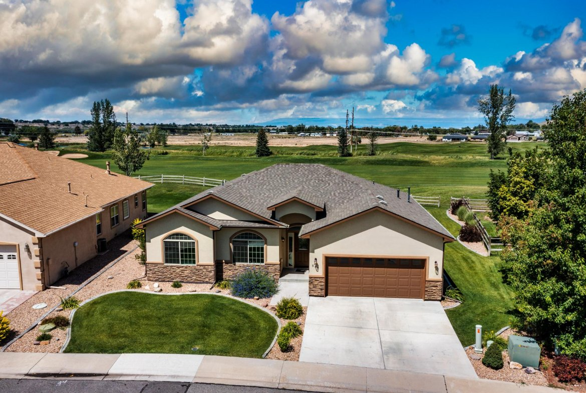 Aerial View of Front of Home with Views - 597 Cobble Dr Montrose, CO - Atha Team MLS Colorado