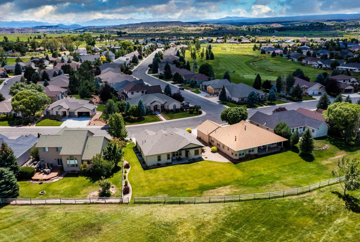 Aerial View Rear of Home - 597 Cobble Dr Montrose, CO - Atha Team MLS Colorado